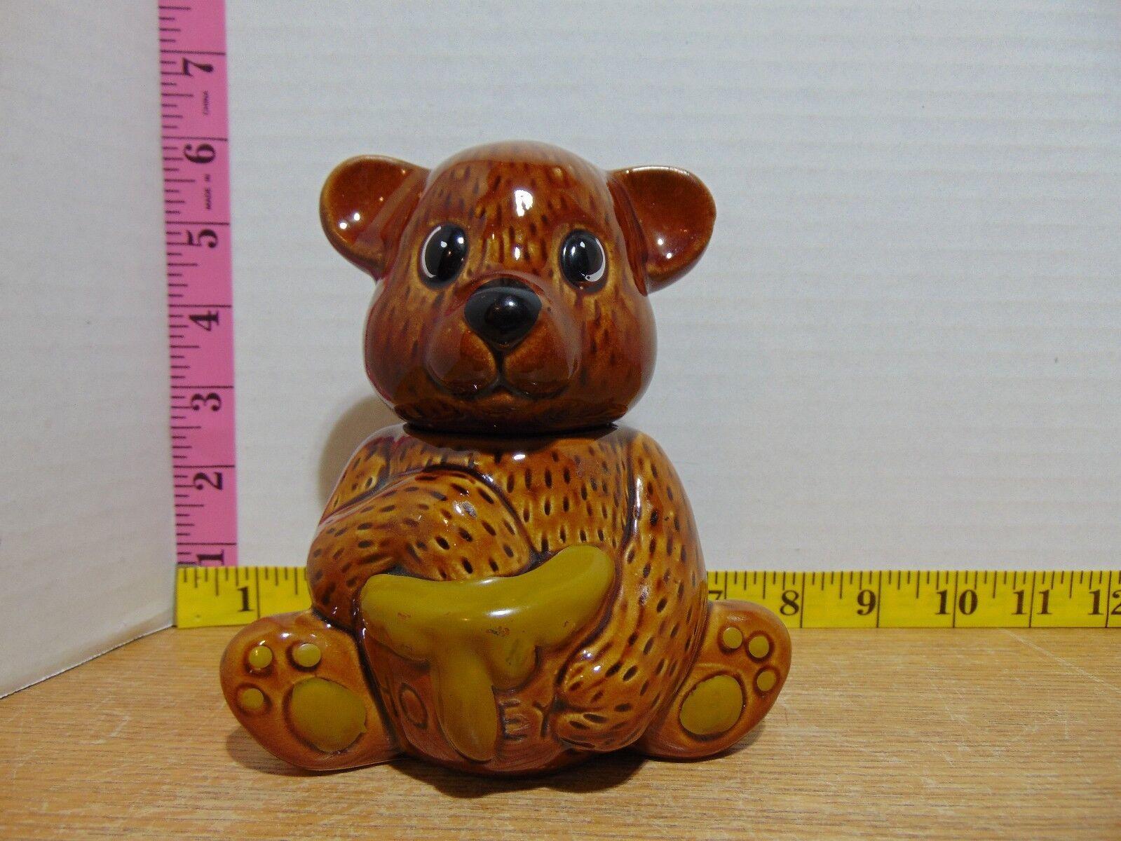 Brown Honey Bear Pot Bear Holding A Honey Pot - No Dipper 6  - $7.00