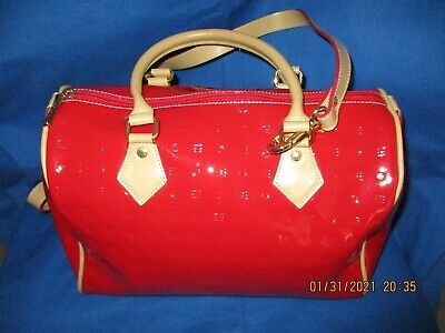 Gorgeous Arcadia Red/Tan Patent Leather Handbag doctors satchel made in Italy