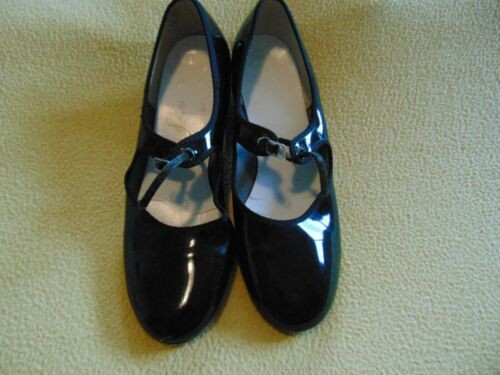 DANCE FASHIONS black Tap Dance Shoes youth girls  size 7M