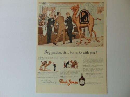 1942 PAUL JONES WHISKEY Cartoon CAMEL in Restaurant vintage art print ad