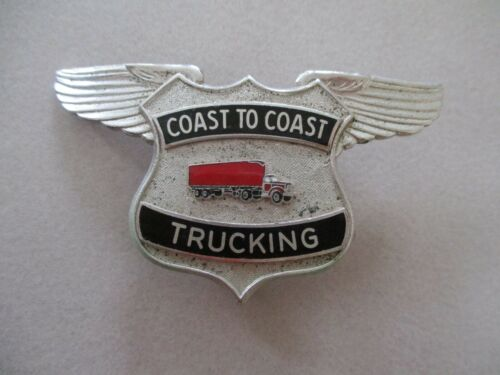 Vintage COAST TO COAST TRUCKING Winged Truck Driver Trucker Hat Badge Pin