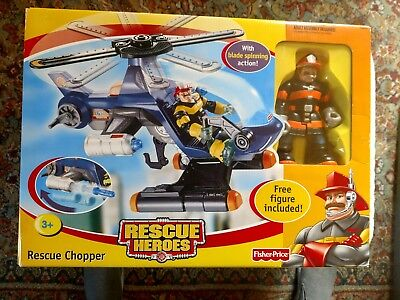 Fisher Price Rescue Heroes Rescue Chopper G8935 New 2004 With Figure Ships Fast