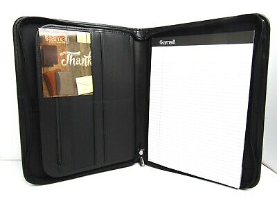 Samsill Professional Zippered Tablet Holder Portfolio W Writing Pad Black 70820