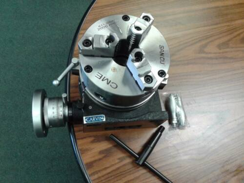 "8"" HORIZONTAL & VERTICAL ROTARY TABLE 3-slot w. 8"" 3-jaw chuck, front mounting"
