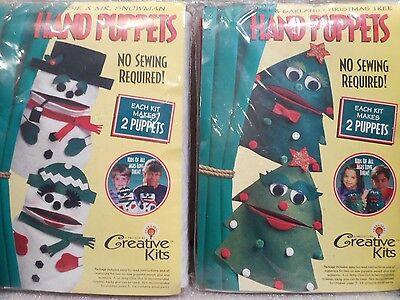 2 Creative Kits Felt Hand Puppets 2 Snowman & 2 Christmas Trees NO SEWING