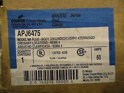 Crouse Hinds Apj6475 Arktite 60 Amp Pin Sleeve Plug- New