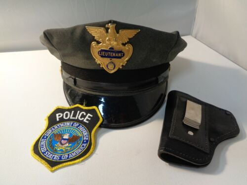 Law Enforce State of Ohio Lieutenant Hat, US Dept of Def patch, pistol holster