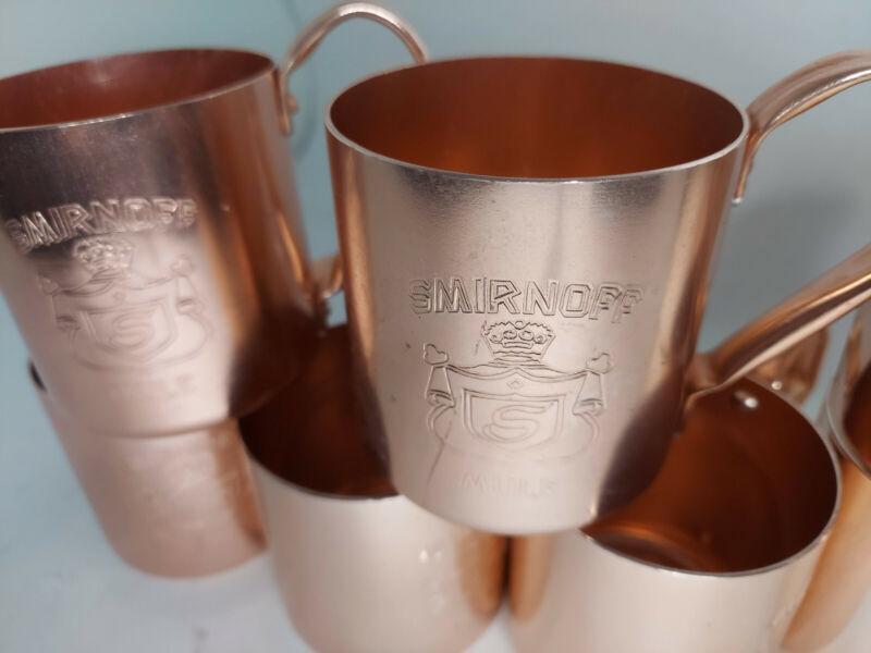 Vintage Smirnoff Mule Mug Cups Bar Ware Drink Set 8 Aluminum Copper Tone 80s A3