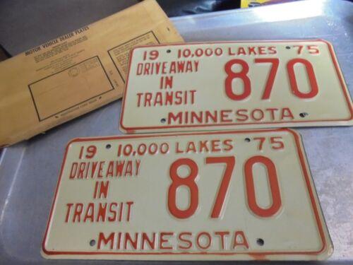 Vintage Matched Pair of 1975 Minnesota Dealer License Plates in envelope