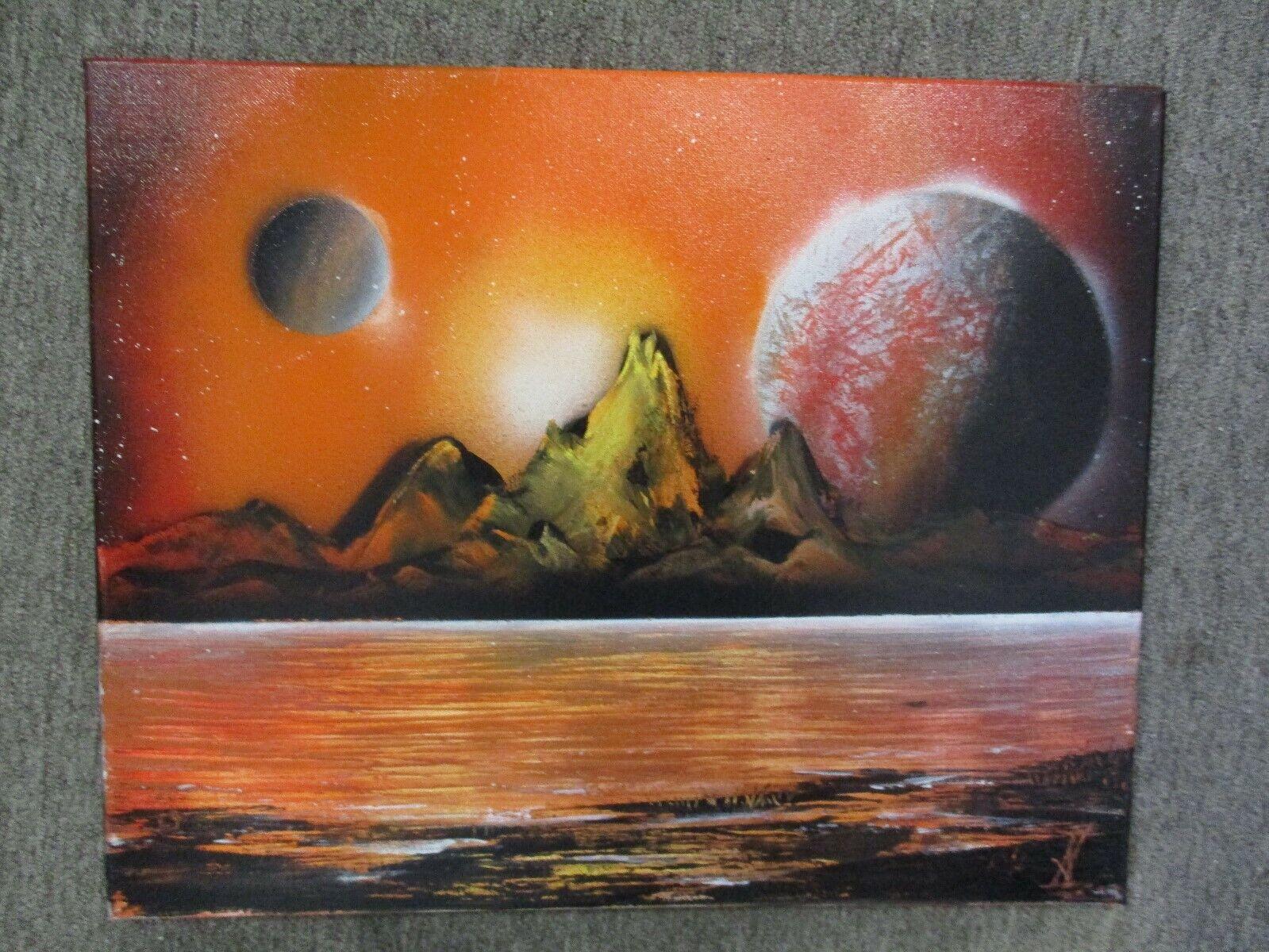 """Original Spray Paint Street Art Mountain Moon Scene on Canvas 20"""" X 16"""""""