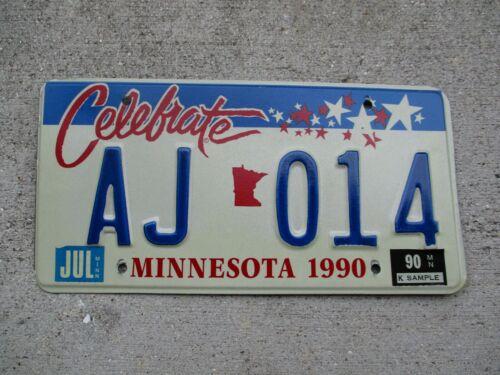 Minnesota 1990 Celebrate license plate   #  AJ  014