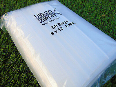 50 Ziplock Bags Reloc 9x12 Heavy Duty 6 Mil Thick Clear Large 9 X12 Bags