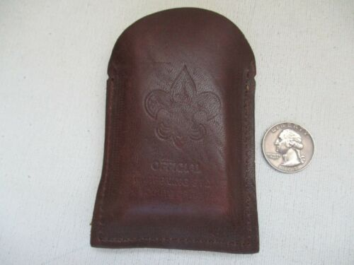 Vintage Official BSA Sharpening Stone Boy Scouts of America with Leather Pouch