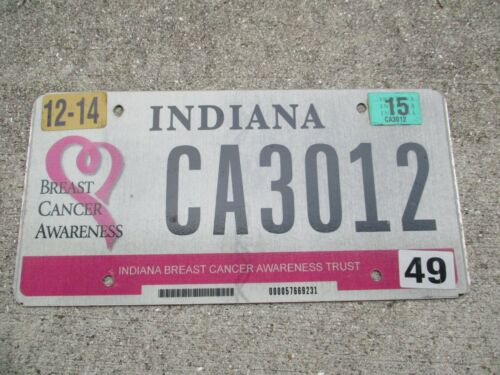 Indiana 2015 Breast Cancer Awareness license plate  #   CA3012