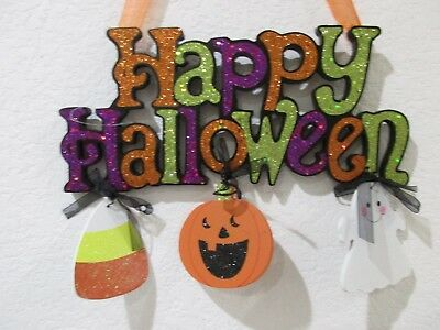 Halloween HAPPY HALLOWEEN Pumpkin Glitter Hanging Wall Sign Door Plaque - Happy Halloween Glitter Sign