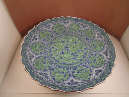 Vintage Asian Style Blue Green Fruit Leaves Round Chop Plate Platter