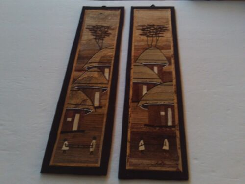 Pair Of  Vintage African Straw / Bamboo Art Wall Pictures