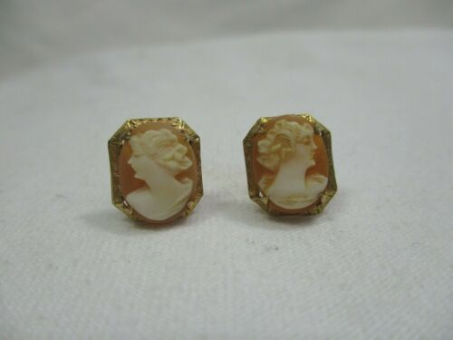 Antique Victorian Fine 10K Gold Carved Cameo Shell Earrings Screw Back- 2.5g -ca