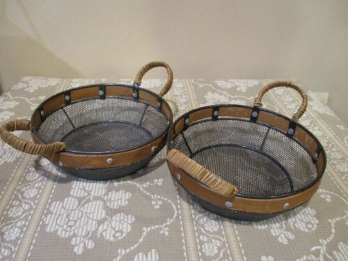 """Wire Mesh Basket w/Wood Trim & Reed Covered Handles 3 1/4"""" Tall (2pc)"""