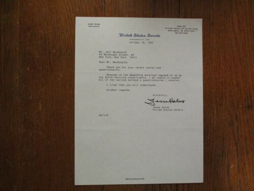 SENATOR  JESSE  HELMS (Died in 2008)  Signed 1993 Personal Letter- 8 1/2 x 11