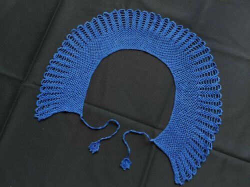 Beautiful Vintage VICTORIAN Handmade Lace Collar 100% Cotton Blue