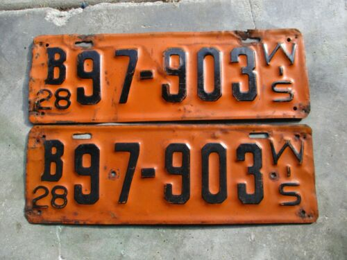 Wisconsin 1928 license plate pair #  97 - 903