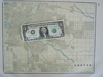 CO 1895 GOLD GILT DENVER, COLORADO City Map Historic 19th Century Yellow, Blue - $16.00