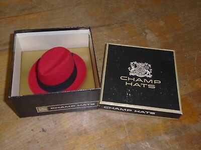 CHAMP HATS Red Felt Mini Fedora in Box - Used as a Gift Certificate In Hat Form