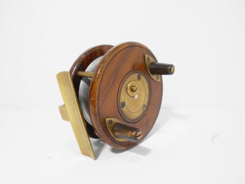 "Vintage Antique David Slater 3"" Wooden Brass Alloy Nottingham Fishing Reel"