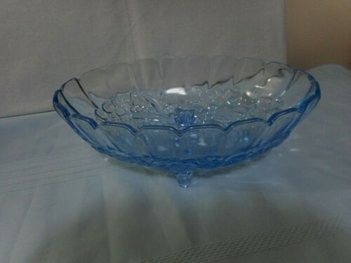 Vintage Blue/Aquamarine Carnival Indiana Glass Large Oval Footed Fruit Bowl