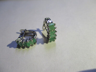 6 Stone sterling silver real Green Emerald earrings 925 silver oval cut Emeralds