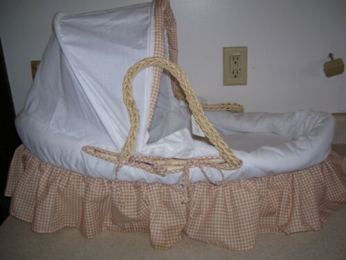 Natural Moses Basket w/ Fabric Canopy in Beige Gingham Bedding - 1830