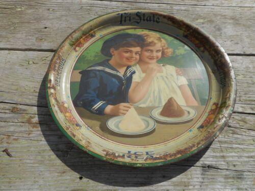 Vintage RARE K&S Advertising TRI STATE DAIRY ICE Cream Tray w SAILOR BOY & GIRL