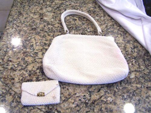 Lumured white beaded purse/bag/handbag & coin purse, c. 1950s