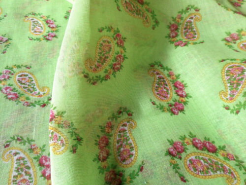 Vintage Paisley Floral Roses Light Voile Cotton Blend Fabric ~ Lime Pink Yellow