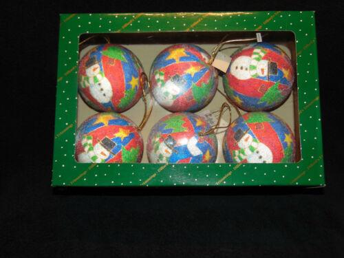 Dillards Trimmings Large Ball Snowman Christmas Ornaments Set of 6  #G