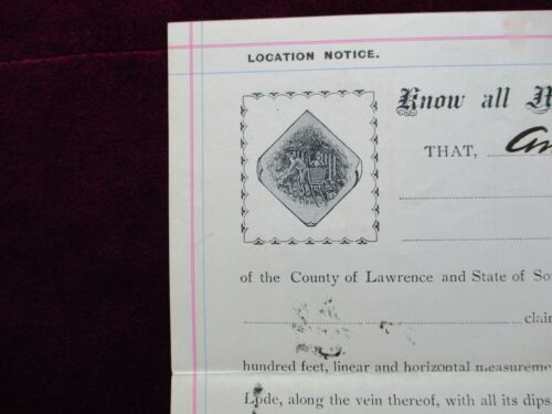 1901 PIC Deadwood,South Dakota Bear Butte,$1000 Claim GRAPHIC Mining signed deed