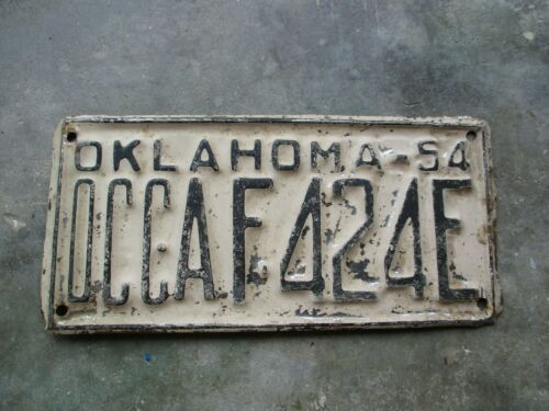 Oklahoma 1954 OCC license plate  #   AF 424E