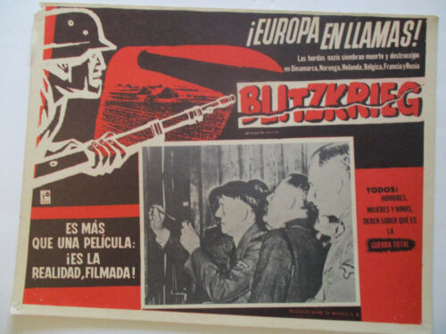 BLITZKRIEG 1959 Europe in Flames Hitler Still View Mexican Lobby Card in Spanish