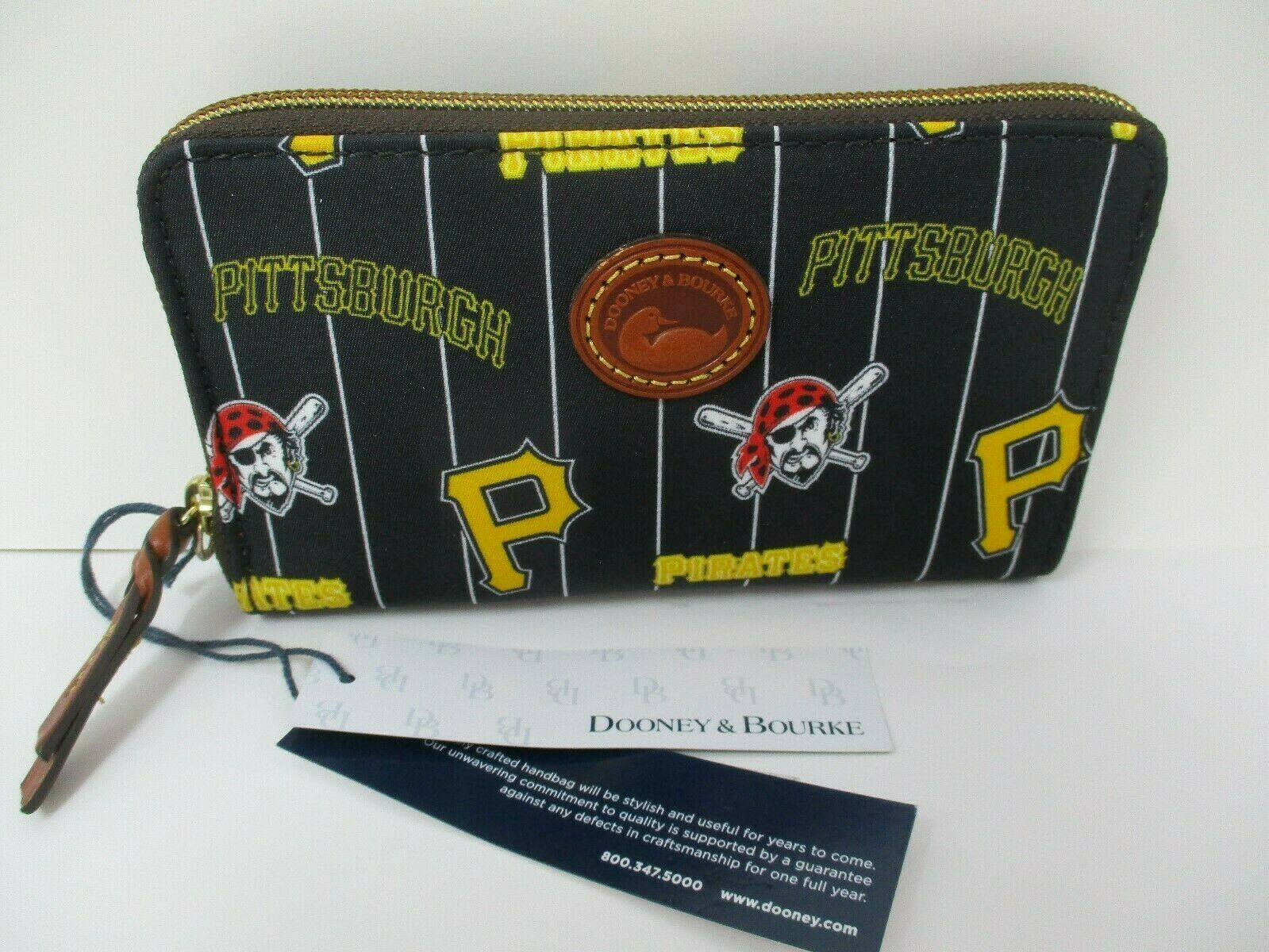 Dooney & Bourke Pittsburgh Pirates Zip Around Phone Wristlet New With Tags