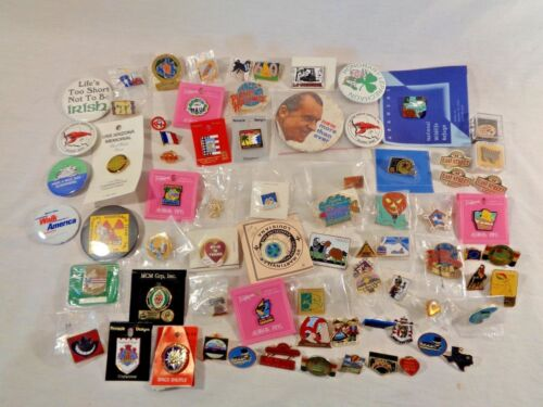 Large Lot of 75 Vintage Pins Hat Pins Foreign Nixon States Advertisement