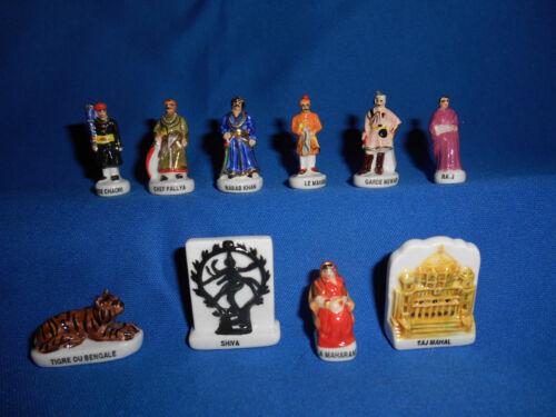 INDIA History Figures TAJ MAHAL Set of 10 Mini Figurines FRENCH Porcelain FEVES