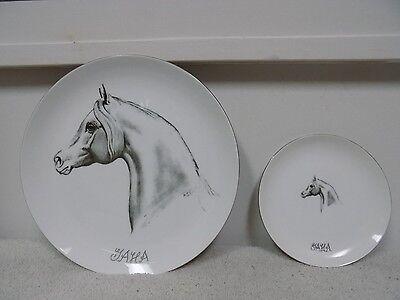 Lot of 2 Vintage ARABIAN HORSE Hazel D. Ammerman Collectable Fine China Plates