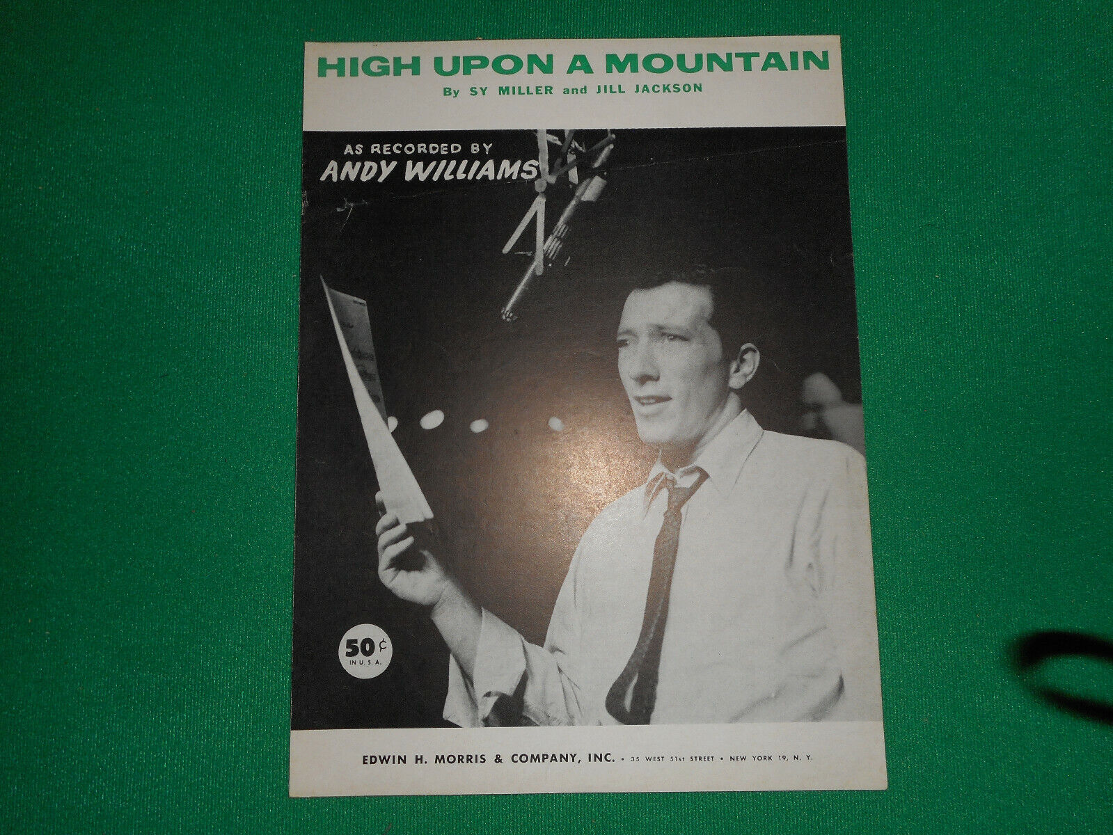 Andy Williams High Upon A Mountain 1956 Sheet Music - $2.99