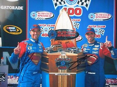"Jimmie Johnson,Chad Knaus CALI AUTO CLUB VICTORY ""SUPERMAN"" 2x Signed 8x10 Photo"