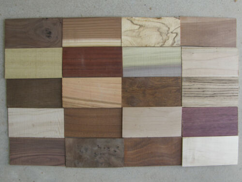 20 Different Thin Samples - Exotic & Domestic Woods for Intasia, Crafts, Knives