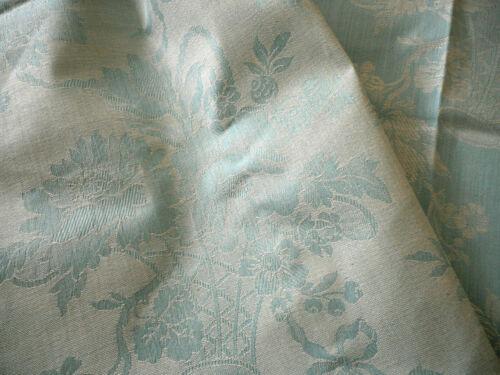 Antique Vtg. French  Soft Blue Floral Basket Linen Cotton Damask Ticking Fabric