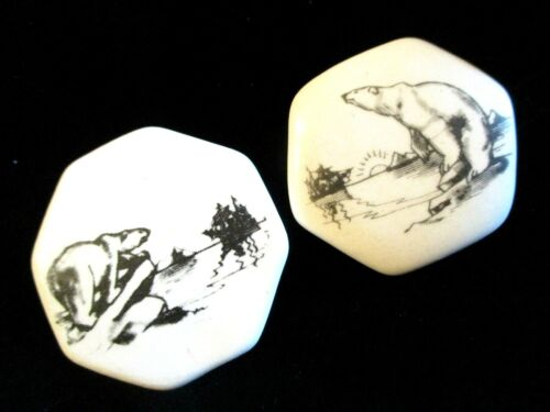 PAIR of Vintage STUDIO Clothing BUTTON Signed by SHIRLEY SHAW - POLAR BEARS