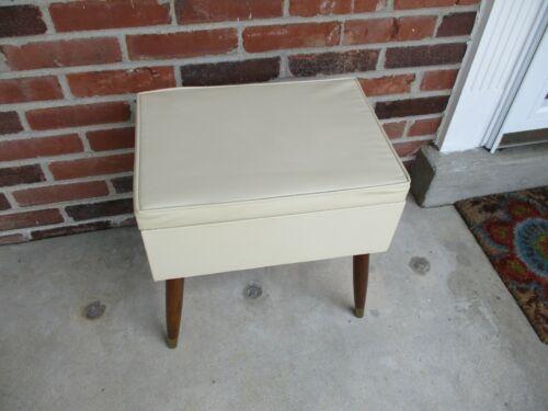 Vintage Mid Century Modern Vinyl Footstool Ottoman Sewing Bench W/ Storage EVC