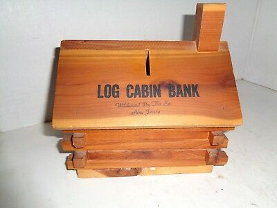 "Vintage Log Cabin Coin Bank 7 x 7"" Excellent Condition"